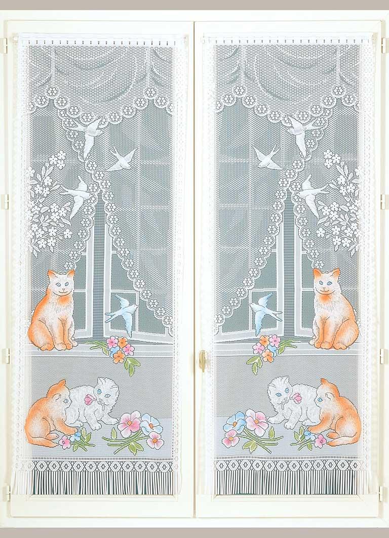 Paire de Vitrages Frangés Chats et Hirondelles - Blanc - 60 x 160 cm