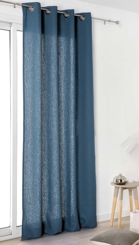 rideau authentique en 100 lin bleu marine gris. Black Bedroom Furniture Sets. Home Design Ideas