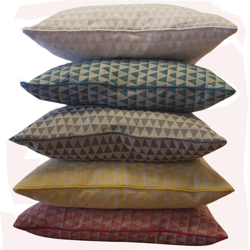 Lot de 6 Housses de Coussin Jacquard à Petits triangles Colorés - Jaune moutarde - 60 x 60 cm