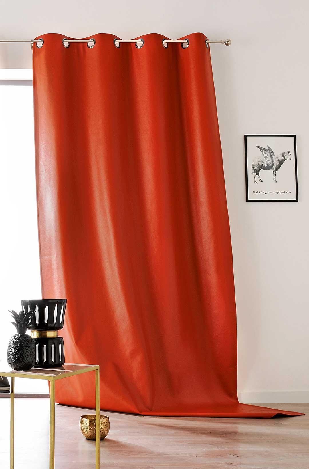 Rideau à Oeillet en Simili Cuir coloré (Orange)