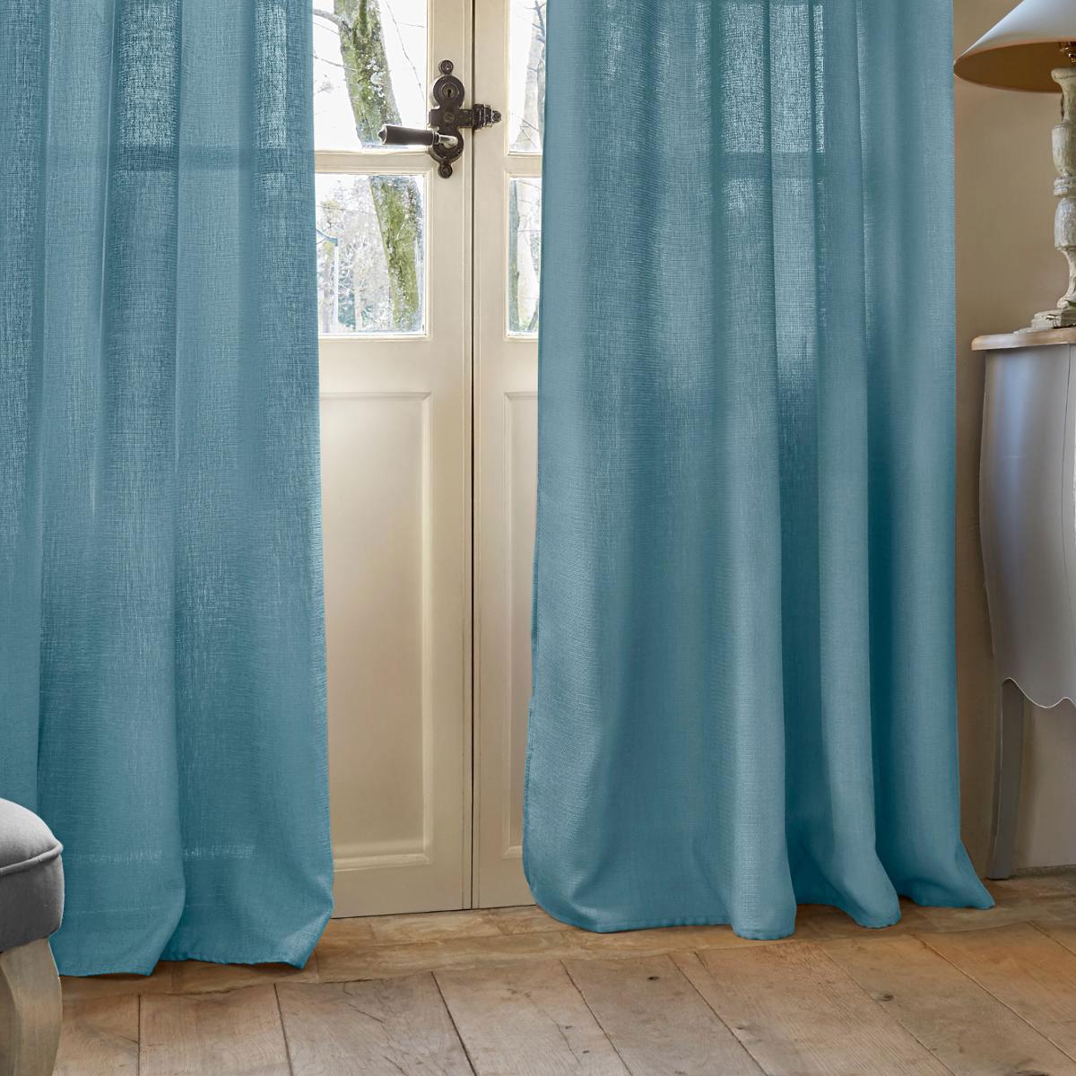 rideau effet petite maille bleu blanc lin homemaison vente en ligne rideaux. Black Bedroom Furniture Sets. Home Design Ideas