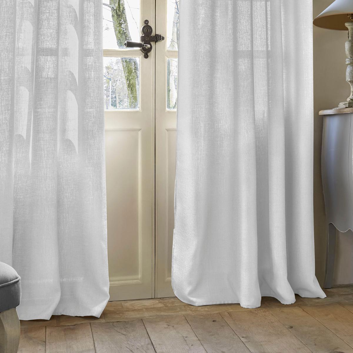 rideau effet petite maille blanc lin homemaison vente en ligne tous les rideaux. Black Bedroom Furniture Sets. Home Design Ideas