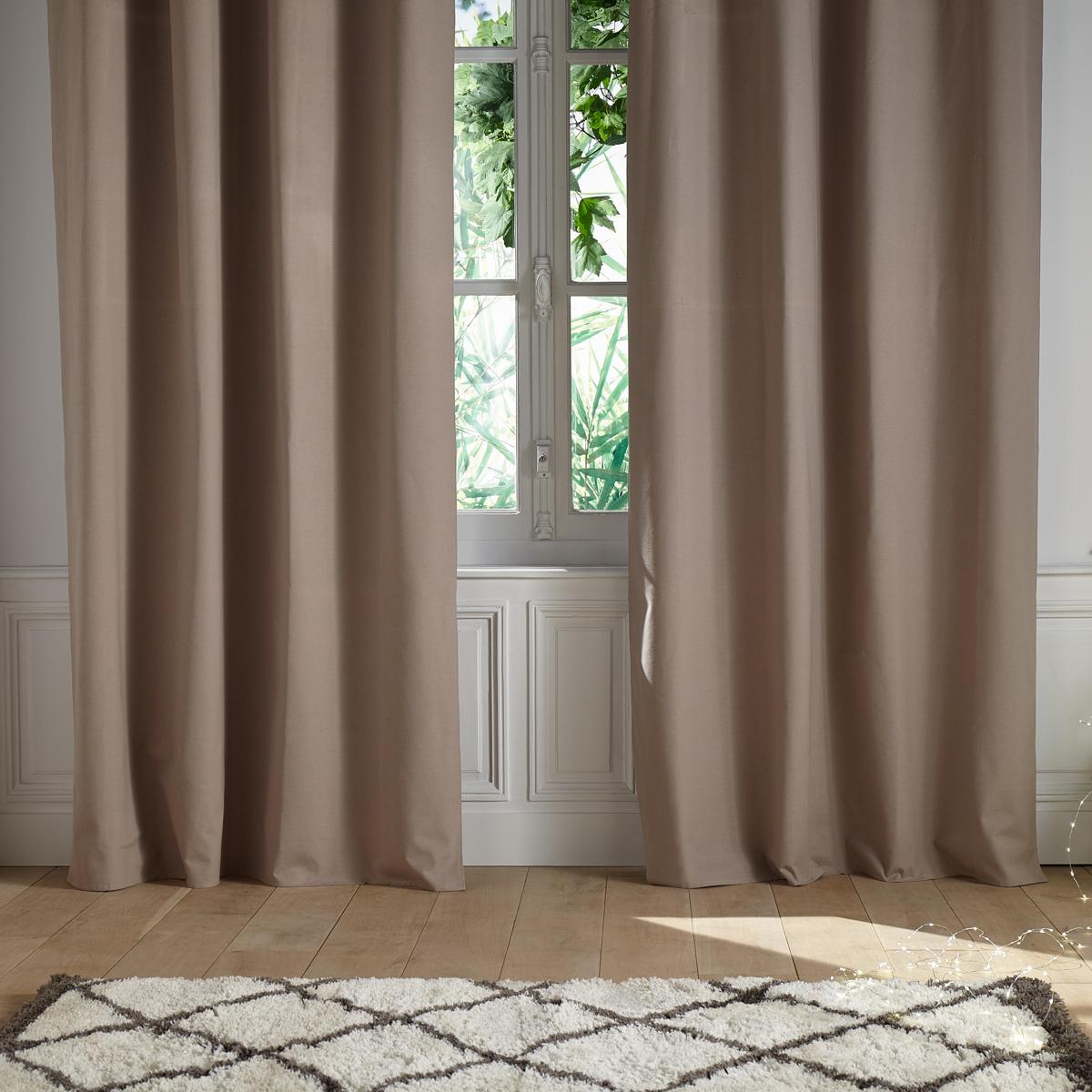 rideau uni et isolant en coton lin gris fonc gris. Black Bedroom Furniture Sets. Home Design Ideas