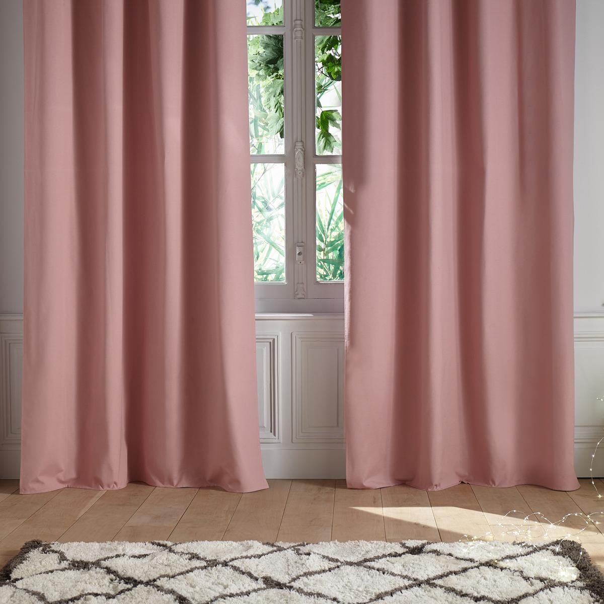 rideau uni et isolant en coton rose gris fonc gris. Black Bedroom Furniture Sets. Home Design Ideas