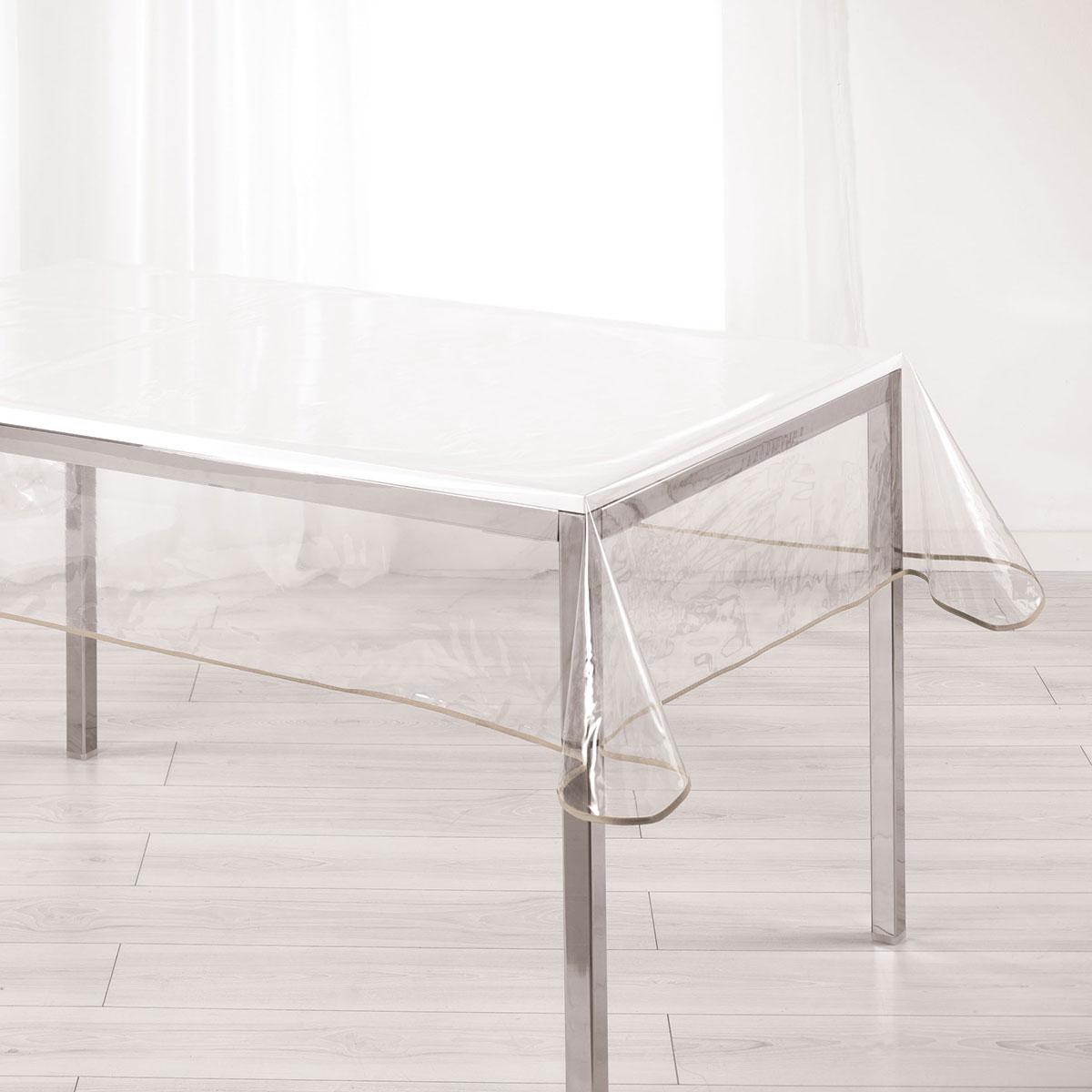 Nappe Cristal Rectangulaire Biais Coloré - Taupe - 140 x 240 cm