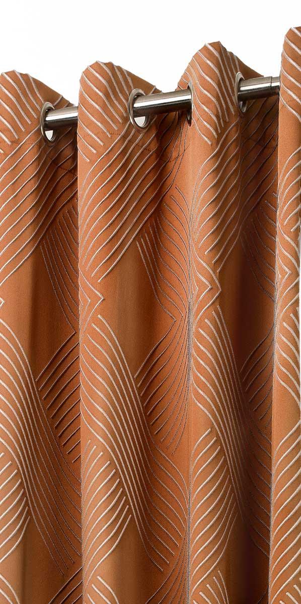 Rideau Brodé Motifs Géométriques - Orange - 140 x 280 cm