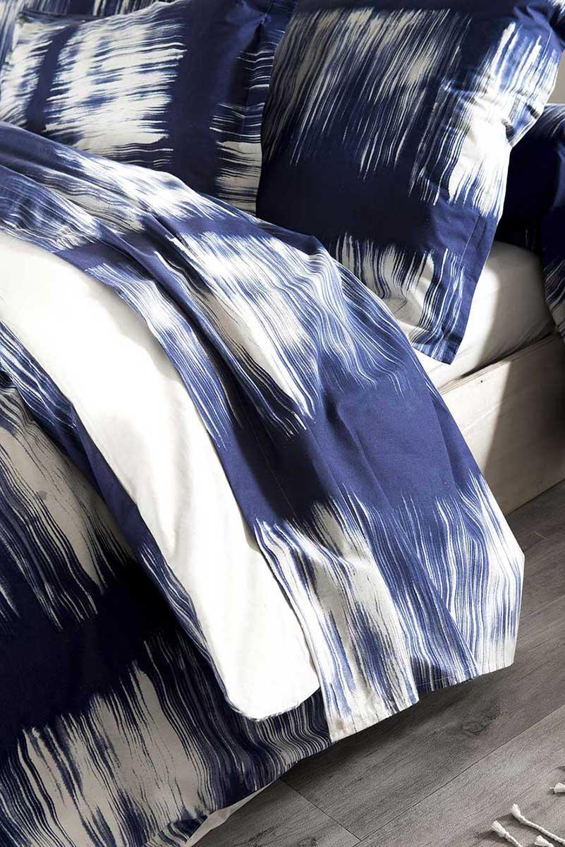 Drap Plat à Rayures Tie and Dye en Ecru lavé - Bleu - 240 x 310 cm