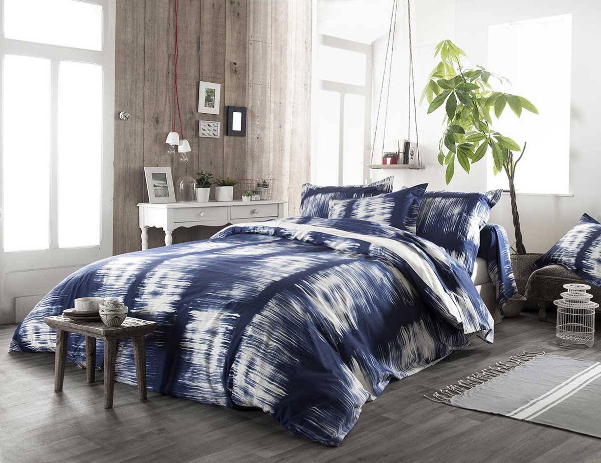 housse de couette rayures tie and dye en ecru lav. Black Bedroom Furniture Sets. Home Design Ideas