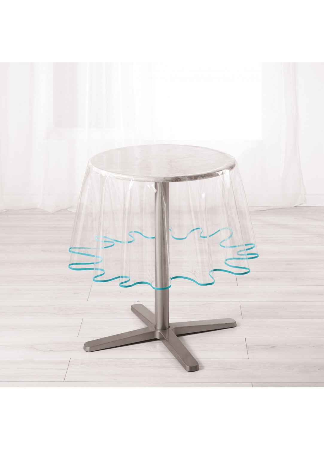 nappe ronde pvc transparent avec biais color aqua menthe blanc rouge framboise. Black Bedroom Furniture Sets. Home Design Ideas