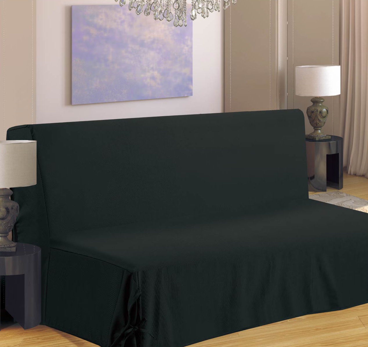 Housse de canapé pour BZ - Noir - 140 x 190 cm