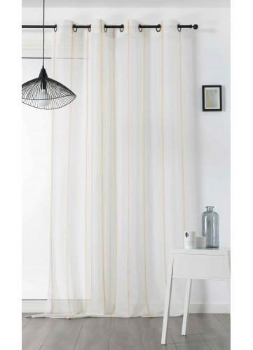 Voilage au Jeu de Rayures Colorées - Jaune - 155 x 280 cm