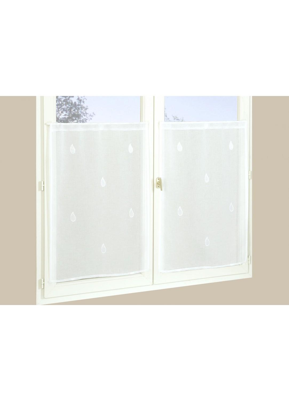 paire de vitrages en etamine goutte d eau blanc. Black Bedroom Furniture Sets. Home Design Ideas