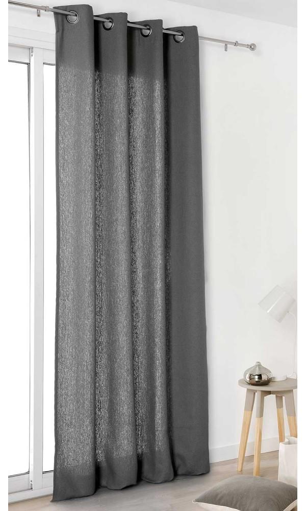 Rideau Authentique en 100% lin - Gris Foncé - 135 x 260 cm