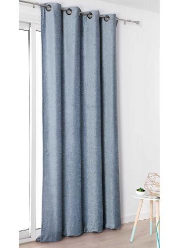 Rideau Aspect Velours Uni - Ciel - 140 x 245 cm