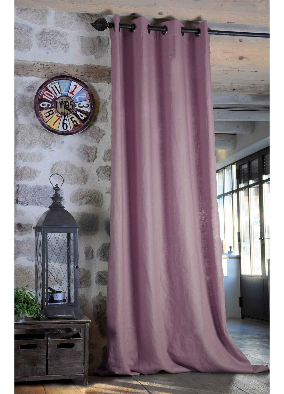 rideau uni en ramie color parme sapin mastic prairie noir blanc rouge. Black Bedroom Furniture Sets. Home Design Ideas