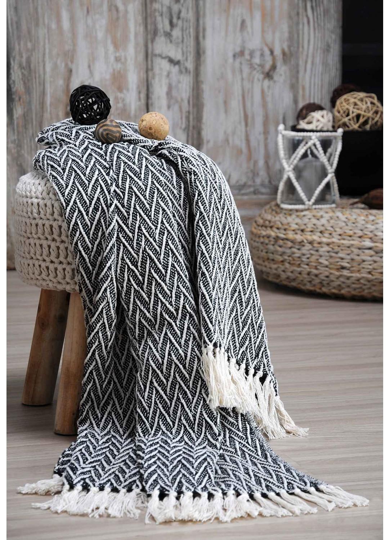 plaid chevrons relief s noir homemaison vente en ligne plaid douceur polaire. Black Bedroom Furniture Sets. Home Design Ideas