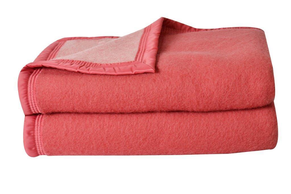 Couverture double face en 100% laine (Bois de Rose)