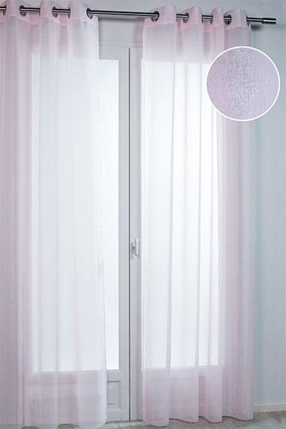 Voilage uni irisé - Rose - 140 x 240 cm