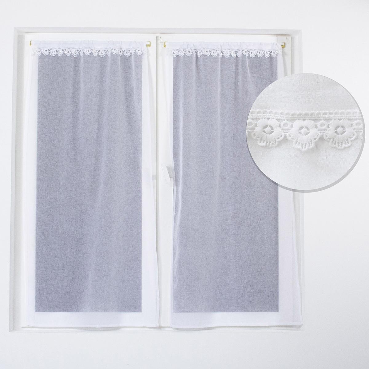 Paire de vitrages droits avec galon en macramé (Blanc)