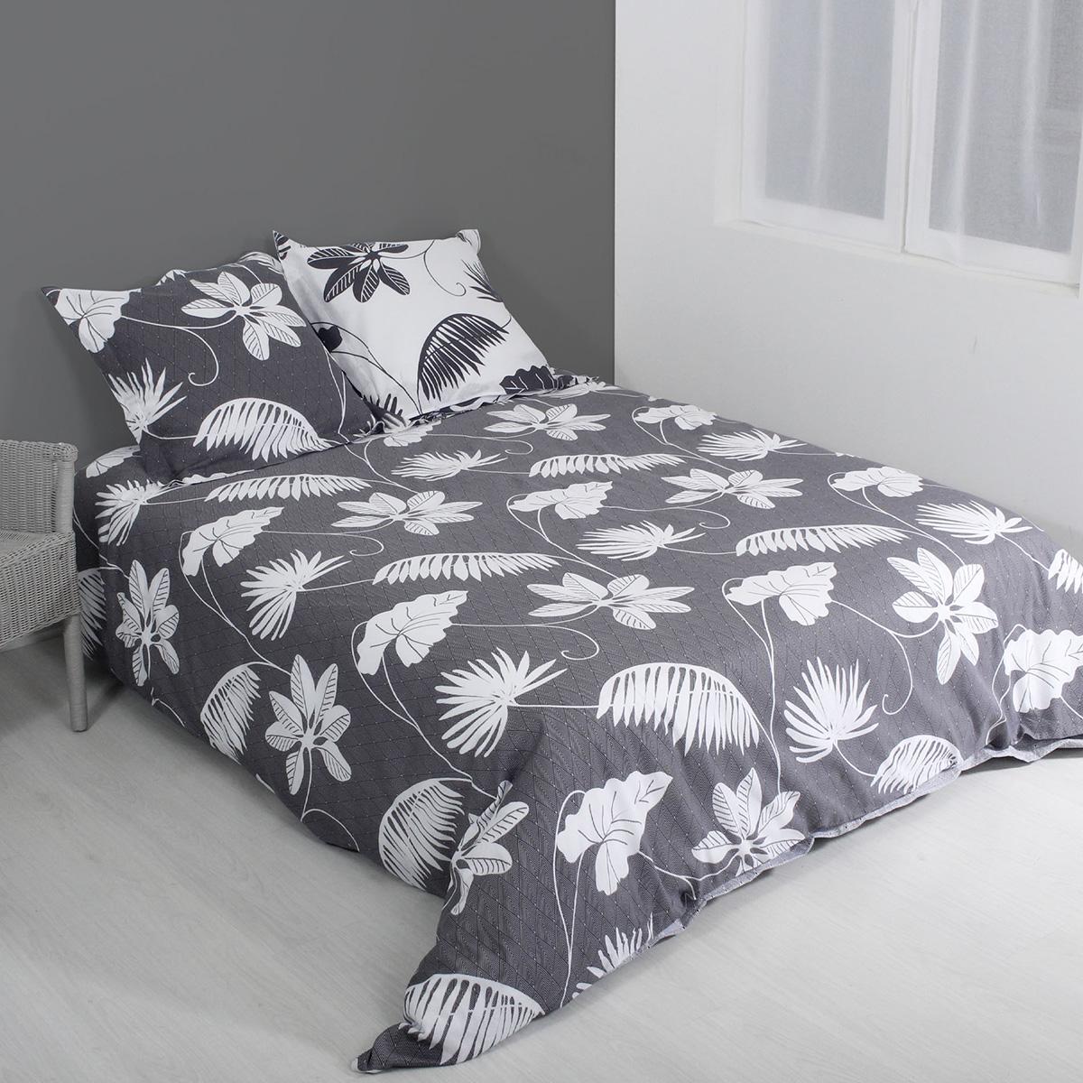 Parure de couette aux feuillages tropicaux - Gris - 240 x 220 cm + 2 T
