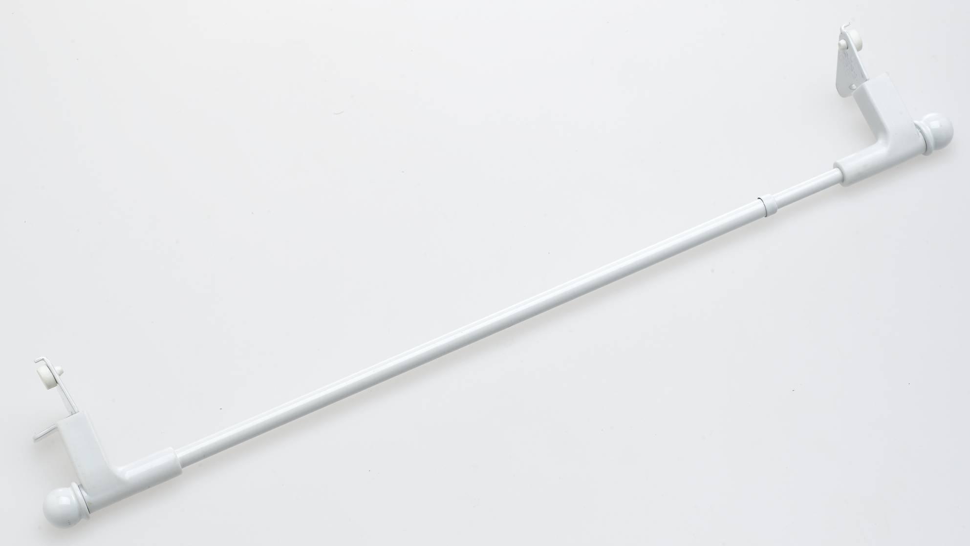 Tringle blanche avec embouts extensible 'Press & Go' sans percage (Blanc)