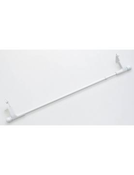 Barra de cortina extensible blanca 'Press & Go' sin agujeros. (Blanco)