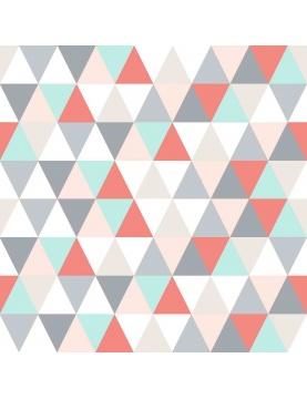 Toile Cirée en PVC Imprimée Triangles (Bleu/Vert)