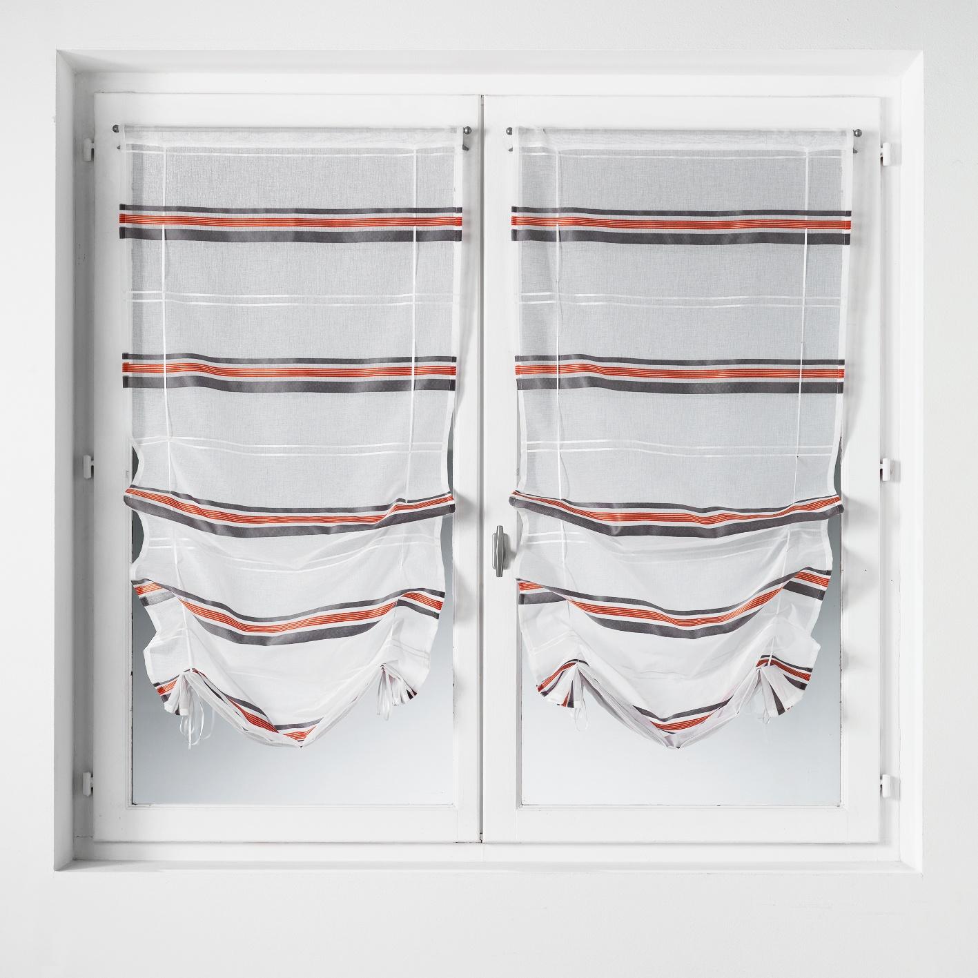 Paire de vitrage à remonter en étamine à rayures horizontales (gris/rouge)