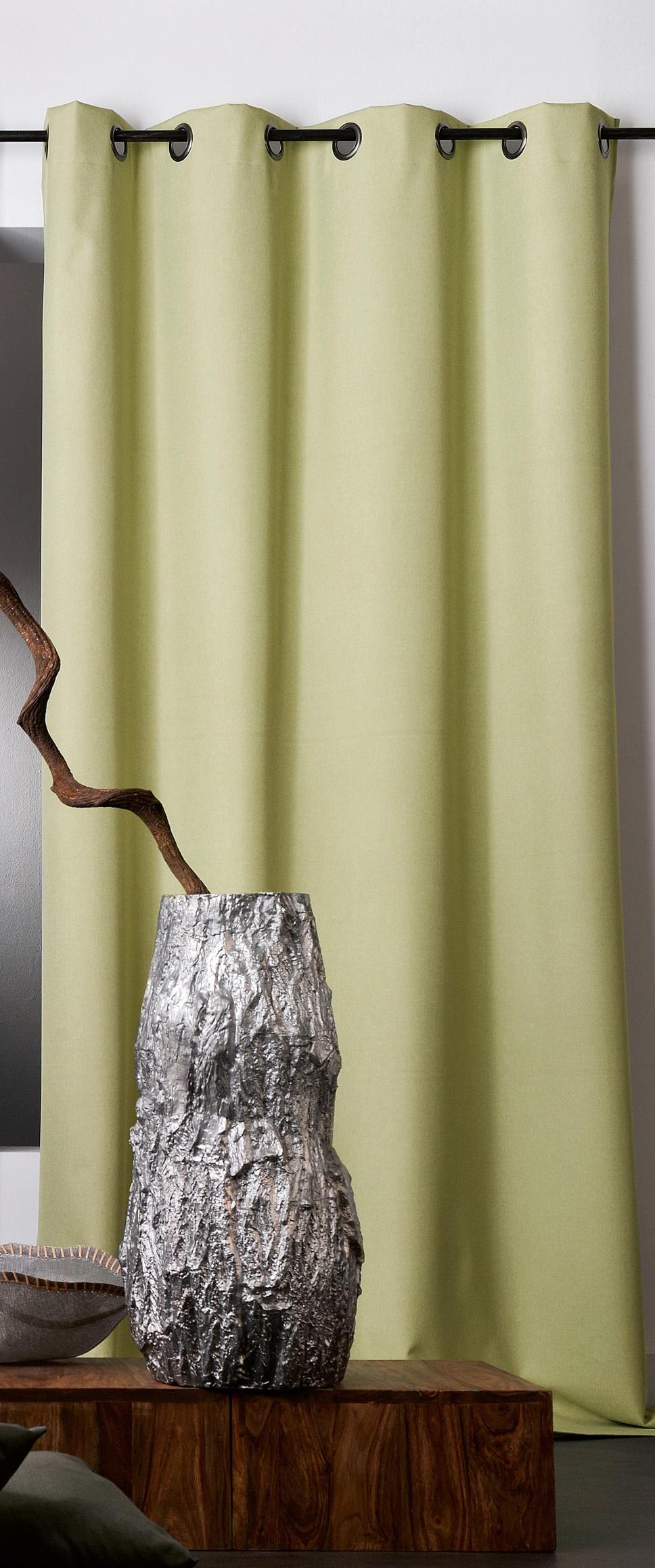rideau uni occultant avec oeillets vert gris fonc gris clair ficelle beige. Black Bedroom Furniture Sets. Home Design Ideas