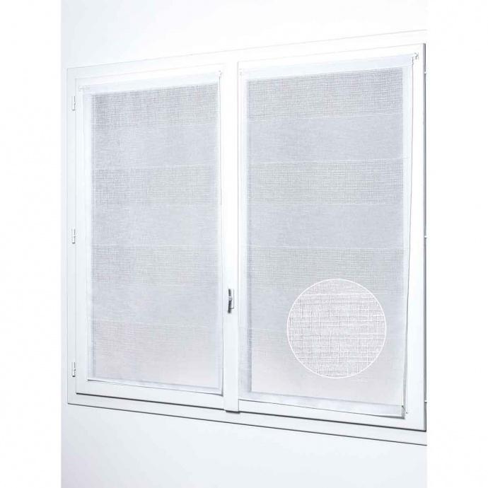Paire de vitrages droits à larges rayures (Blanc)