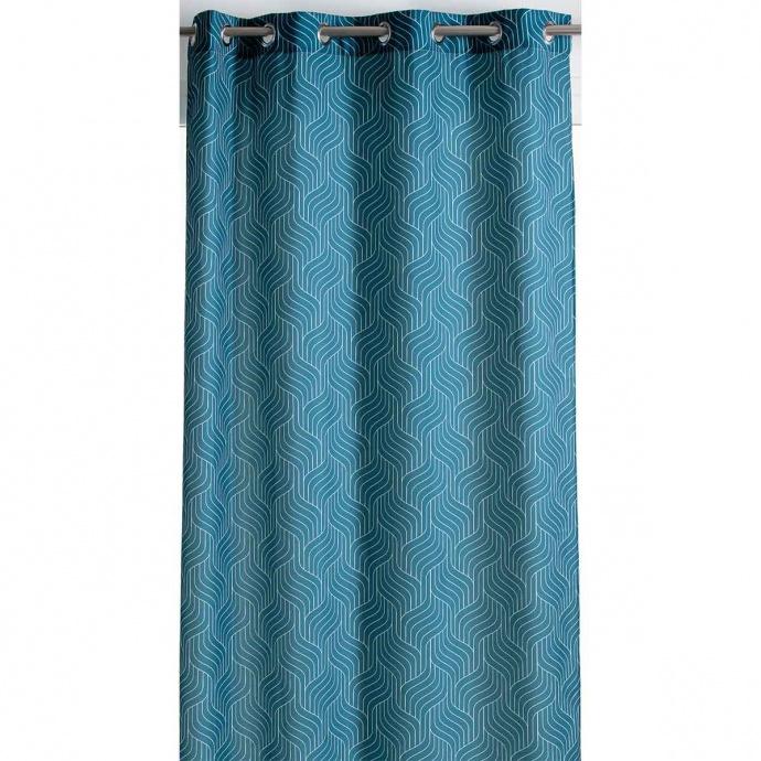 Rideau tamisant à motifs ondulés (Bleu)