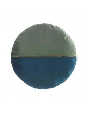 Coussin rond et bicolore en velours avec zip