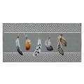 Tapis déco imprimé ethnique à plumes (Gris)