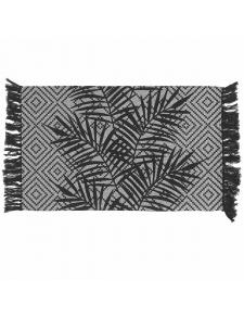 Tapis décoratif à franges noir & blanc