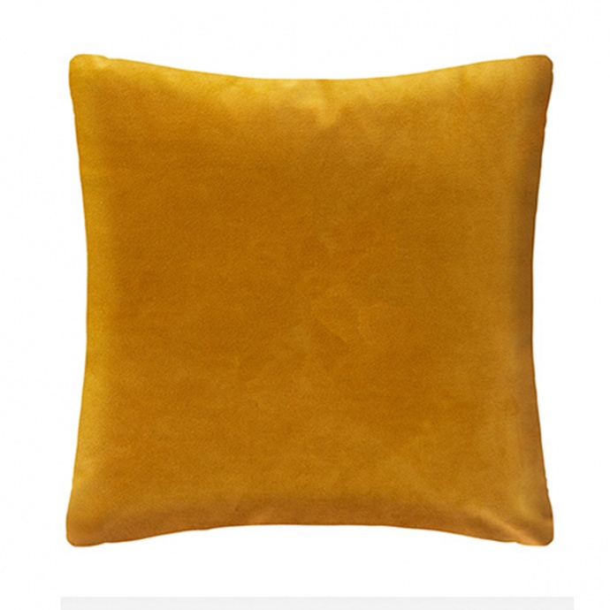 Coussin aux feuillages tropicaux or (Ocre)