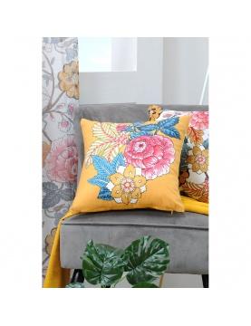 Coussin en velours imprimé floral