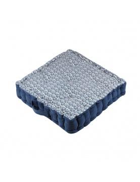 Coussin de sol imprimé sur fond bleu