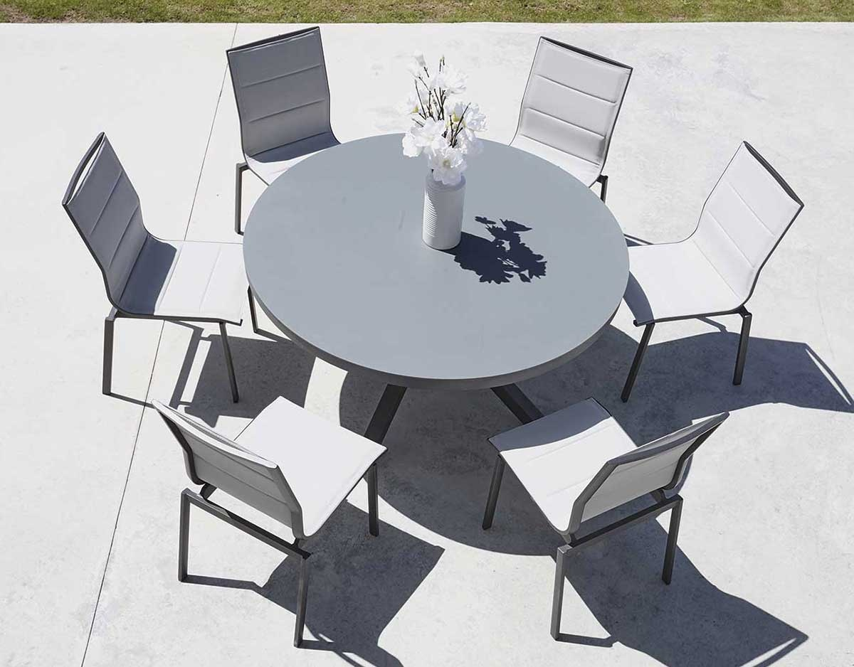 Salon de Jardin avec Table Ronde (Anthracite)