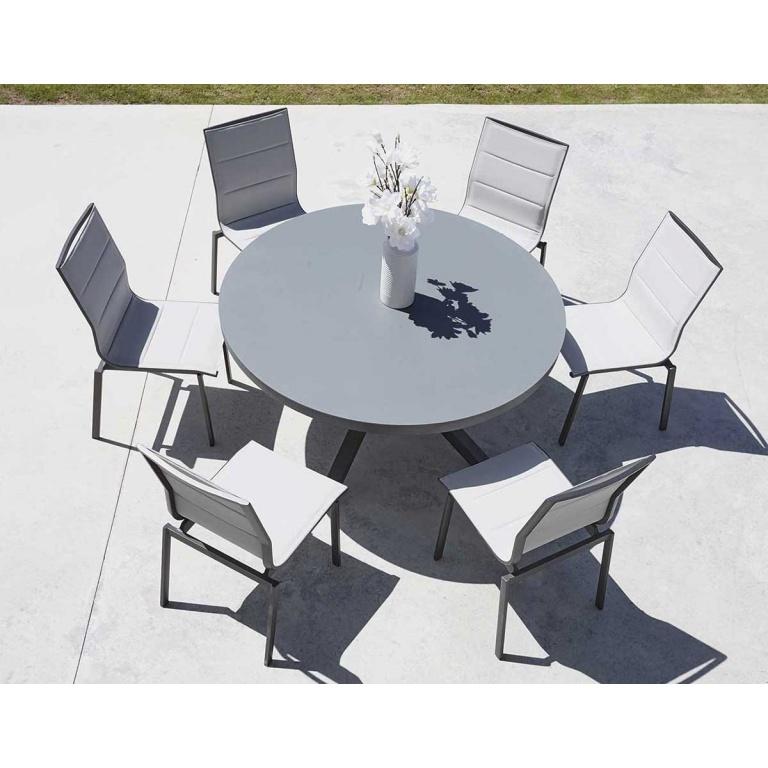 Salon de Jardin avec Table Ronde, (Anthracite) - Homemaison ...