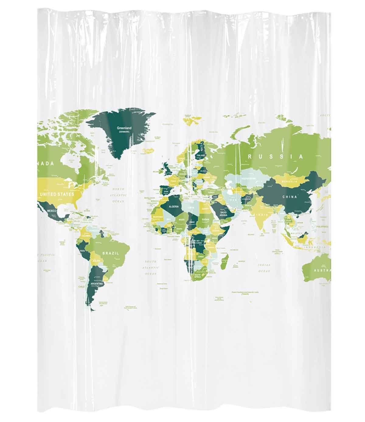 Rideau de douche carte du monde vert blanc homebain vente en ligne rideaux de douche - Rideau de douche carte du monde ...