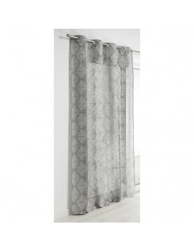Visillo efecto estampado motivo rombo 140 x 240 cm gris