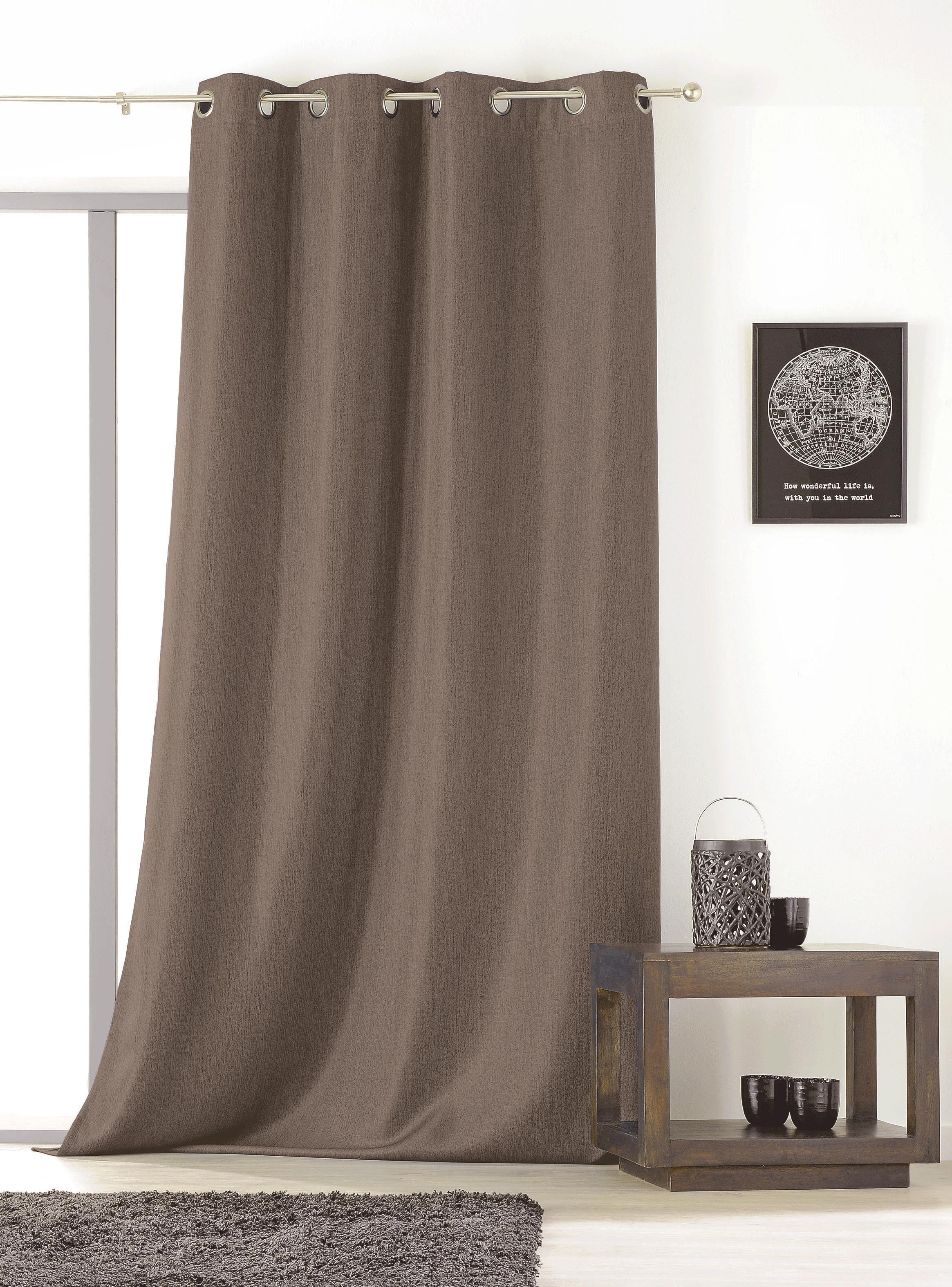 rideau uni avec oeillets beige noir ficelle rouge bleu gris vert. Black Bedroom Furniture Sets. Home Design Ideas