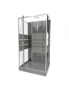 Cabine de douche avec portes sérigraphiées