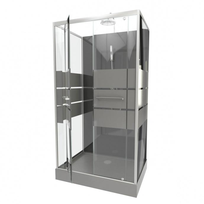 Cabine de douche avec portes sérigraphiées (Gris)