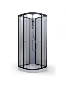 Cabine de douche en alu laqué noir