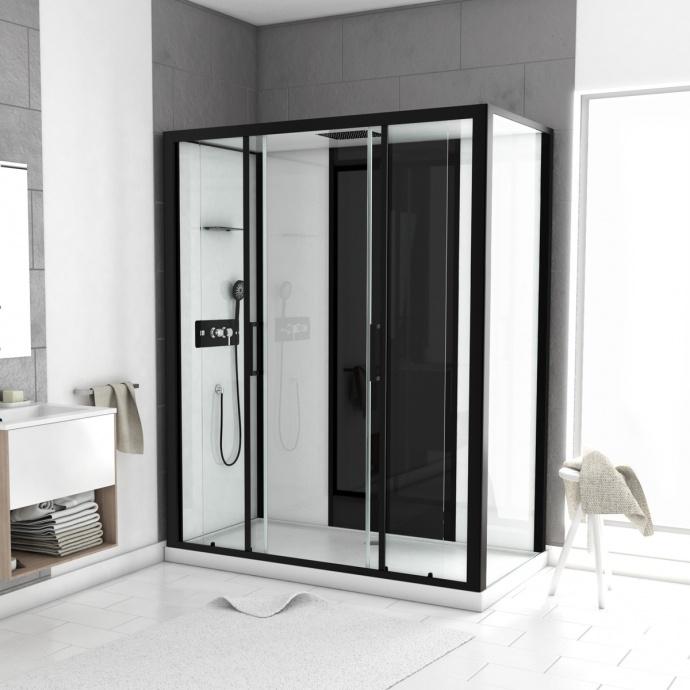 Cabine de douche LOFT à receveur bas (Noir)