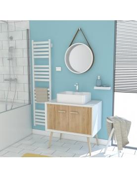 Pack scandinave avec vasque carrée et miroir barbier