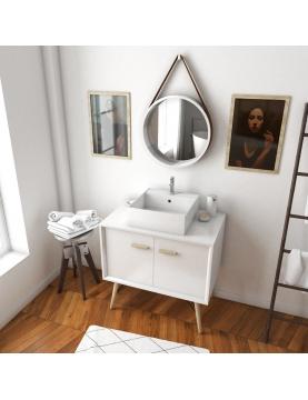 Pack scandinave avec meuble à vasque carrée et miroir barbier