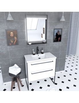 Pack caisson vasque et miroir à led