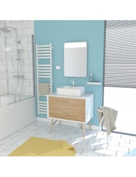 Pack esprit scandinave meuble vasque et miroir à led